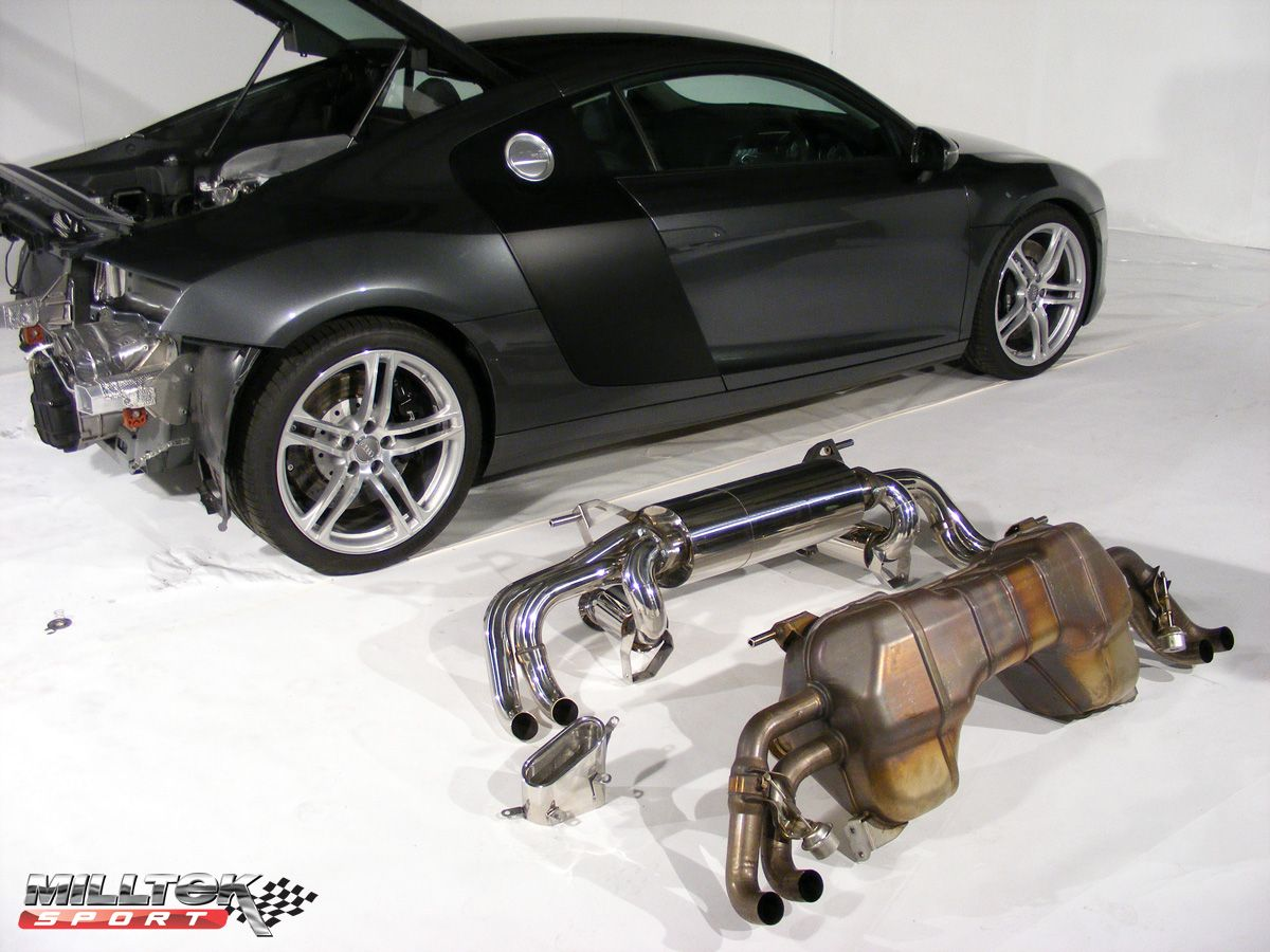 [CAT-BACK - Including secondary catalysts - Resonated] Выхлопная система (тихая) Milltek Sport для Audi R8 V8 4.2 FSI quattro