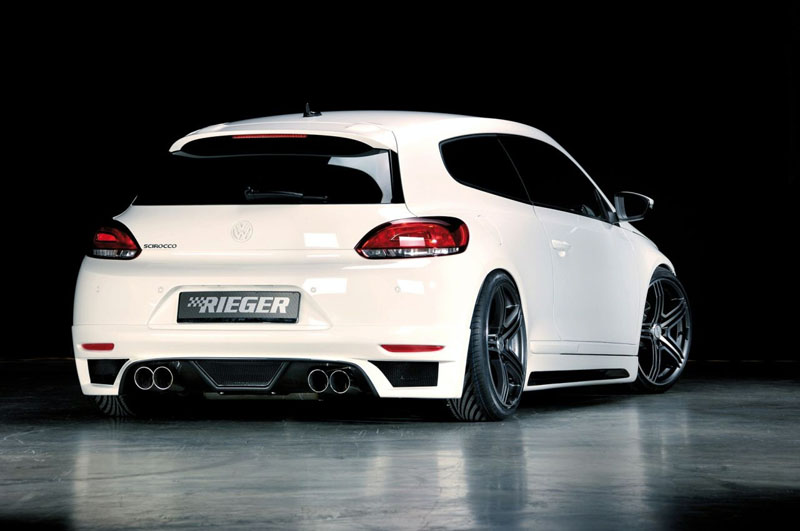 Юбка заднего бампера VW Scirocco 3 Typ 13 Carbon-Look RIEGER