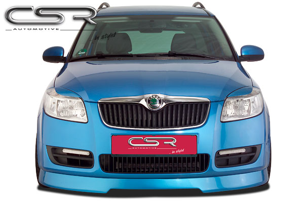 Губа в передний бампер Skoda Fabia 2 06-/ Praktik 06-/ Roomster 5J 06- CSR Automotive